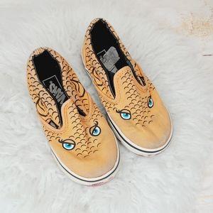 Toddler Vans slip on fish face orange shoes sz 8.5